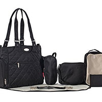 SoHo Collection, Tribeca 9 pieces Diaper Tote Bag set *Limited time offer * (Black)