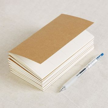 Vintage Kraft Paper Notebook Blank Notepad Diary Journal Traveler's Notebook Refill Planner Organizer Filler Paper