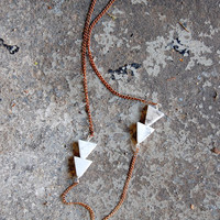 Arrow Necklace(2) - White Howlite Arrow Long Tribal Geometric Necklace - by Bark Decor