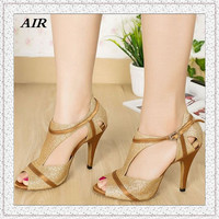 Customizable Fitness Pointed Toe Med  Heel Sequined Cloth Women's Ballroom Tango Latin Dance Shoes Gold Nice