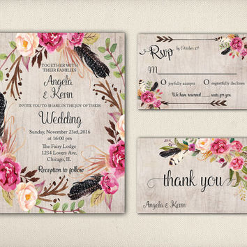 Printable Boho Wedding Invitation Suite Tribal Floral Wreath Peonies Feathers Bridal Card Digital Rustic Flowers Wedding Invite - WS026