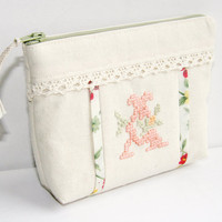 Monogrammed Personalized Makeup Ivory Bag