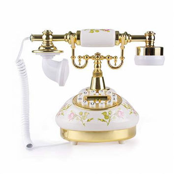 LNC White Rose Flower Ceramic LNC Retro Vintage Antique Style Rural Push Button Dial Desk Telephone Phone Home Living Room Decor