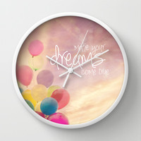 make your dreams come true Wall Clock by Sylvia Cook Photography