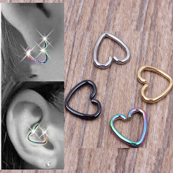 Stainless Steel Titanium Anodized Fake Ear Cuff Tragus Cartilage Nose Hoop Ring Ear Piercing Body Jewelry 80pcs/lot Mix 4 Colors
