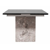 Onyx Extension Dining Table Grey Marble Base, 12MM Tempered Acid Etched Matte Black Glass Top
