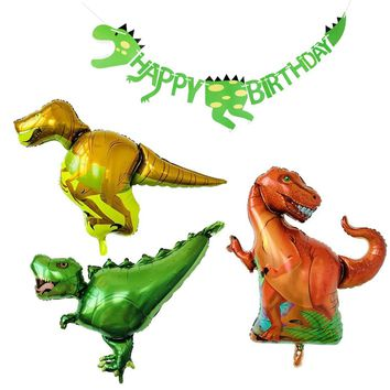 PuTwo Birthday Balloons 3 Dinosaur Jumbo Mylar/Foil Balloons & 1 Dinosaur Happy Birthday Banner Party Decoration for Boy's Birthday Dinosaur Theme Party Jurassic Theme Party - Red & Yellow & Green