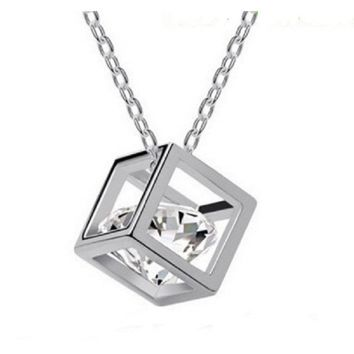 18k Gold Plated Big Real Zirconia Cube Pendant Necklace