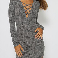 Gray Strappy Long Sleeve Bodycon Knitted Dress