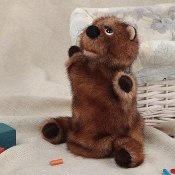 Handmade soft glove toy sewn of brown faux fur bear cub for puppet theater