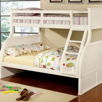 Furniture of america CM-BK923 Canova collection white finish wood twin over full panel style bunk bed set with curved design
