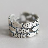 Womens Fashion 925 Silver Fish Ring Adjustable + Gift Box