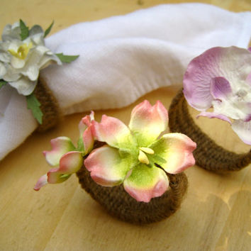 SET of 12 Rustic Cottage Chic Cherry Blossom Orchid Gardenia Napkin Rings Holiday Dinner Wedding Accessories Place Setting
