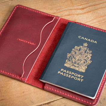 Passport Wallet - Cherry Red Leather - Mens Womens -- Travel Passport Wallet Leather - Personalized Monogram