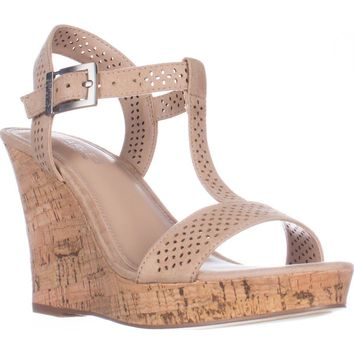 Charles Charles David Law Platform Wedge Sandals, Nude, 10 US