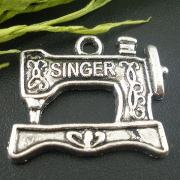 "DoreenBeads Zinc metal alloy Charm Pendants Sewing Machine Antique Silver Message Pattern "" SINGER "" 20mm x 18mm ,6 PCs 2015 new"