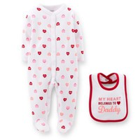 Carter's® 2-Piece Heart Print Footie and Bib Set in White/Red