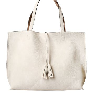 Ivory and Tan Reversible Tote Bag