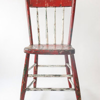 wood chair, wooden chair, child's chair, kids chair, small chair, distressed chair, painted chair, red, green, white, vintage