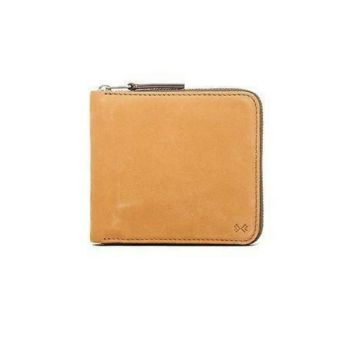 Skagen Denmark mens Leather Zip Around Credit Card Wallet, Sand