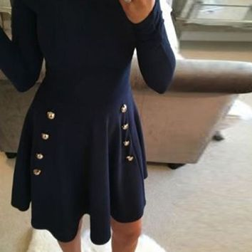 Navy Blue Plain Draped A-line Buttons Double Breasted Elegant Cute Mini Dress