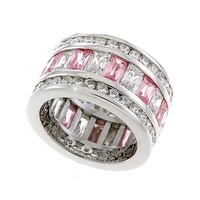 Silver Band Ring with Rose Cubic Zirconia - Fine Jewelry from Wicked Jaded