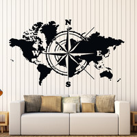 Wall Vinyl Decal World Map Atlas Of The World Compass Home Interior Decor Unique Gift z4422