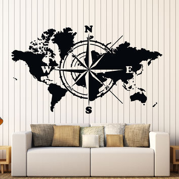 Wall Vinyl Decal World Map Atlas Of The World Compass Home Inter