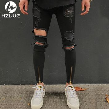 HZIJUE NEW men Biker jeans ripped denim slim motorcycle pants men classic rap hip hop skinny casual winter stretch jeans male