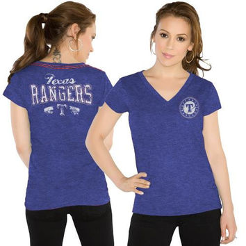 Touch by Alyssa Milano Texas Rangers Ladies Outfield Slim Fit T-Shirt - Royal Blue