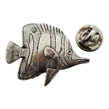 Butterfly Fish Pin ~ Antiqued Pewter ~ Lapel Pin