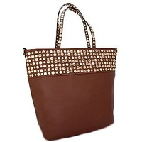 Gold Tone Studded Fashion Tote Bag Purse Brown