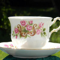 DAMAGED Queen Anne PInk Rose Tea Cup and Saucer, Teacup Made in England J-1607