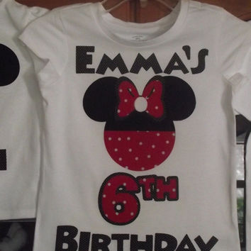 Red Black Minnie Mickey Mouse - Disney Birthday Family Custom T-Shirt Personalized Applique Head