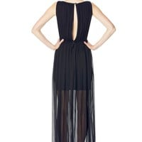 alice + olivia | JAYDN PLEATED MAXI DRESS WITH LEATHER TRIM