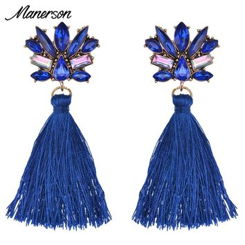 Manerson 2017 Fashion Crystal Tassel Cotton Drop Earrings New Arrival Women Bijoux Gem Wedding Party Statement Earring Jewelry