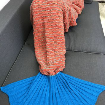 High Quality Knitting Striped Mermaid Tail Style Blanket