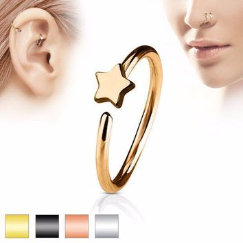 ac ICIKO2Q Vintage Body Pircings Jewelry Charms Simple Star Heart Butterfly Nose Ring Shellhard  Surgical Steel Earring Nose Hoop Loop Ring