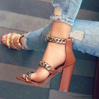 Chain Decorate Open Toe High Chunky Heels Sandals