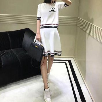 DCCKVQ8 Chanel' Women Casual Fashion Letter Multicolor Stripe Middle Sleeve Short Skirt Set Two-Piece