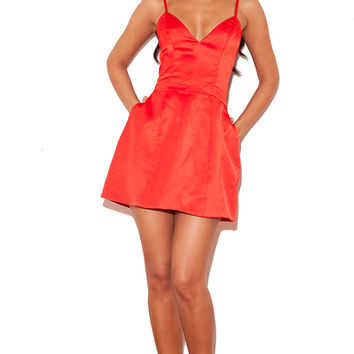 'Luigia' Red Satin Bralet Tulip Dress