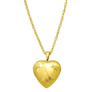 14K Yellow Gold-Filled 16mm Footprints Heart Locket Pendant Necklace, w/18-Inch Chain