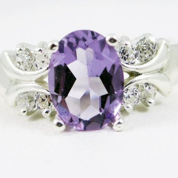 Oval Lavender Amethyst and White CZ Ring, 925 Sterling Silver Ring, February Birthstone Ring, Engagement Ring, Oval Amethyst Ring,