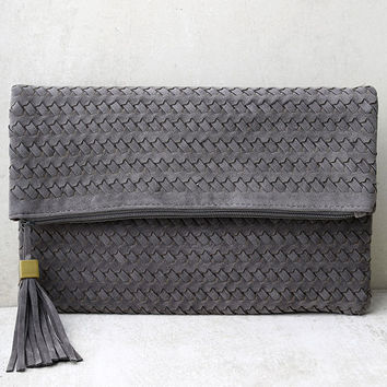 Leave it to Me Grey Clutch