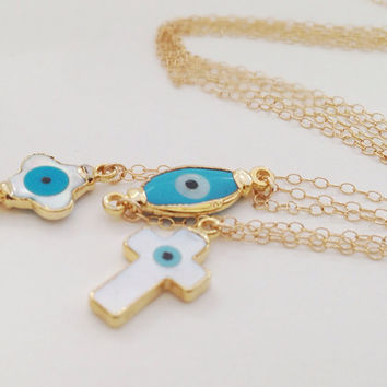 Cross Evil Eye Gold Necklace by camilaestrella on Etsy
