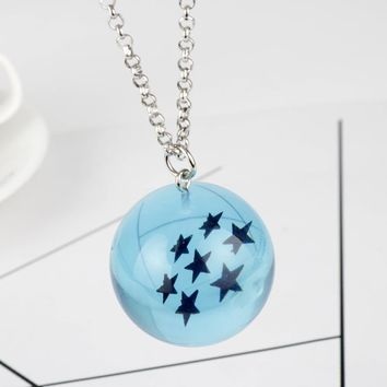 MQCHUN Anime Dragon Ball Blue pvc 1-7 Stars Plastic Ball Pendant Necklace Chain Necklace Gift Toys Anime Fans Collier bijouterie