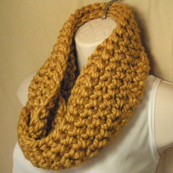Gold Cowl Infinity Circle Scarf Neckwarmer Wool Blend