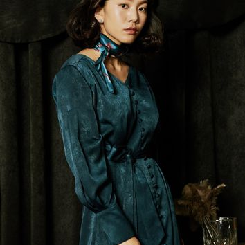 [OH.L] INVERTED PLEAT SLEEVE ROBE DRESS_BLUISH GREEN