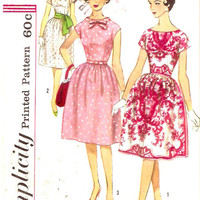 60s Rockabilly Dress Bridesmaid Grad Party Frock Vintage sewing pattern Simplicity 3864 Bust 36 cocktail party UNCUT