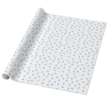 buterfly dot art pattern white, blue, purple wrapping paper